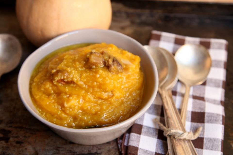 1074  960x720 pici e castagne zuppa di zucca funghi e quinoa   Foto