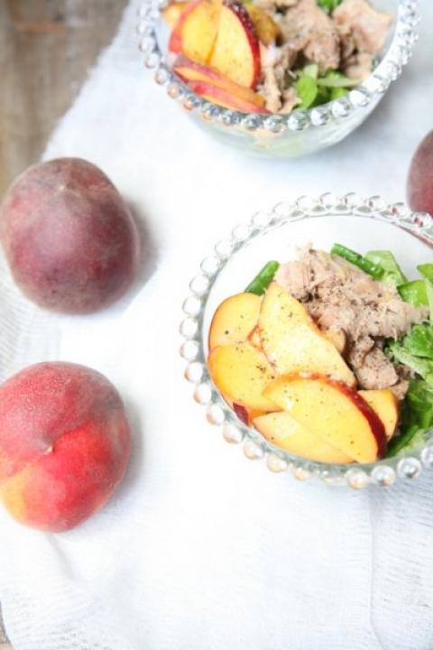 687  960x720 pici e castagne insalata di pollo e pesche   Foto