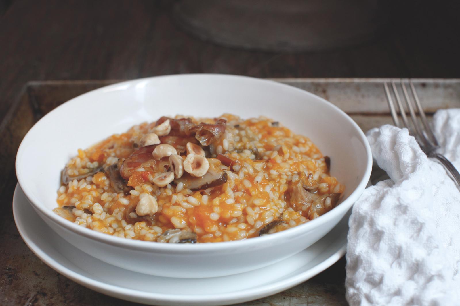 pici-e-castagne-risotto-zucca-nocciole-pancetta-e-funghi